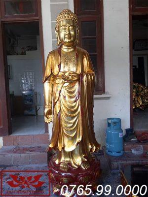 tượng phật thích ca mâu ni gỗ mít sơn son thếp vàng ms04