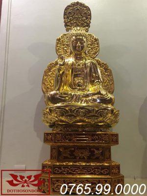 tượng phật thích ca mâu ni gỗ mít sơn son thếp vàng ms06