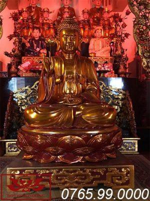 tượng phật thích ca mâu ni gỗ mít sơn son thếp vàng ms09