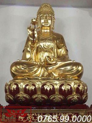 tượng phật thích ca mâu ni gỗ mít sơn son thếp vàng ms10