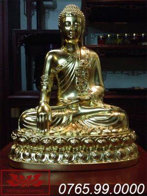 tượng phật thích ca mâu ni gỗ mít sơn son thếp vàng ms14