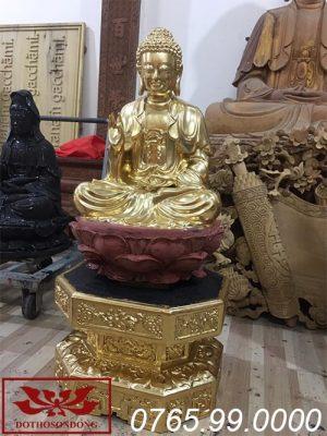 tượng phật thích ca mâu ni gỗ mít sơn son thếp vàng ms18