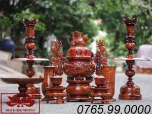 bộ tam sơn ngũ sự gỗ hương ms05