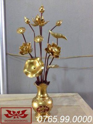 hoa sen gỗ mít đẹp sơn son thếp vàng ms01