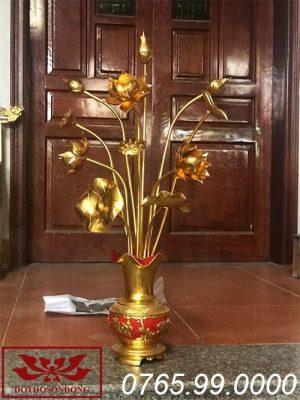 hoa sen gỗ mít sơn son thếp vàng ms03