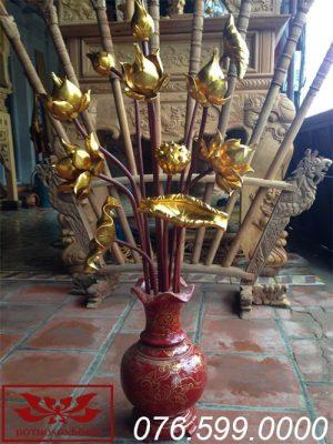 hoa sen gỗ mít sơn son thếp vàng ms04