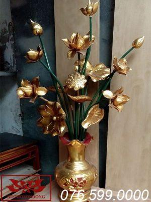 hoa sen gỗ mít sơn son thếp vàng ms06
