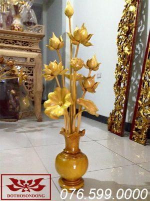 hoa sen gỗ mít sơn bóng ms10