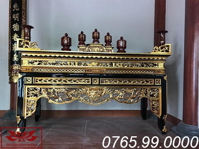 mẫu bàn thờ án gian tại gian thờ phụ nhà thờ họ thanh hóa