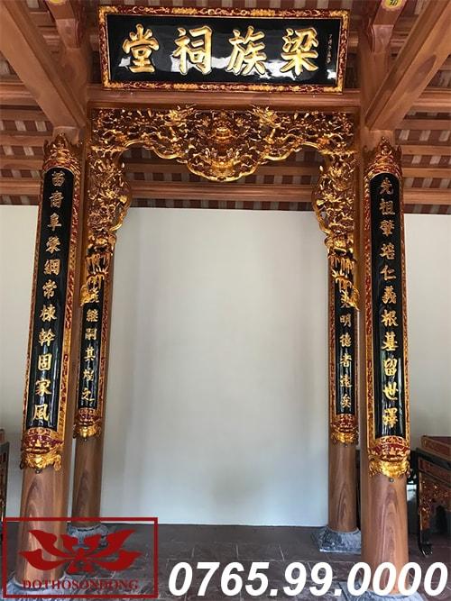 bộ hoành phi câu đối và bức cửa võng tại nhà thờ họ hưng yên