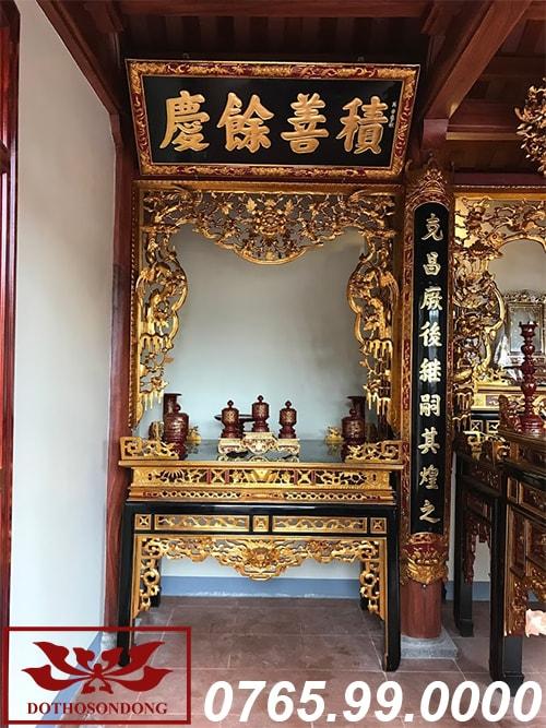 gian thờ phụ mẫu nội thất nhà thờ họ 3 gian tại nghệ an ms02