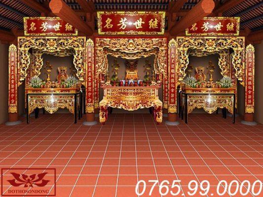 mẫu thiết kế nội thất nhà thờ họ 3 gian đẹp ms 04