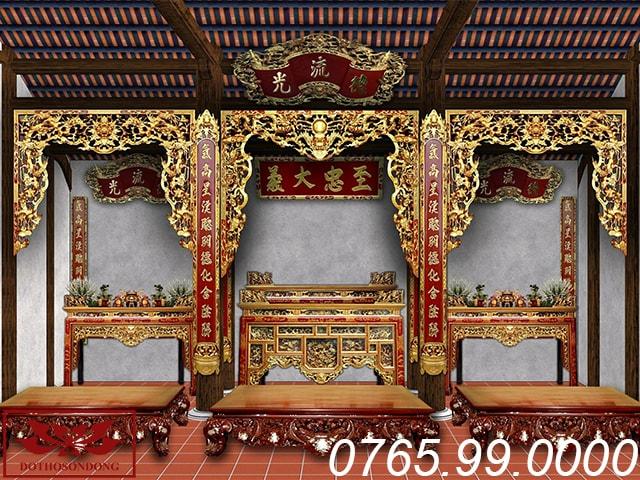 mẫu thiết kế nội thất nhà thờ họ 3 gian ms05