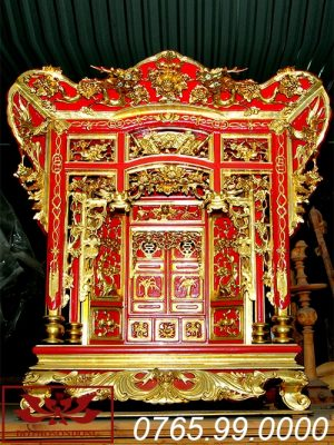 khám thờ gia tiên gỗ mít sơn son thếp vàng ms02