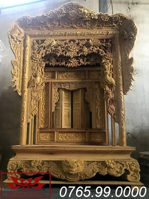 khám thờ gỗ mít ms09