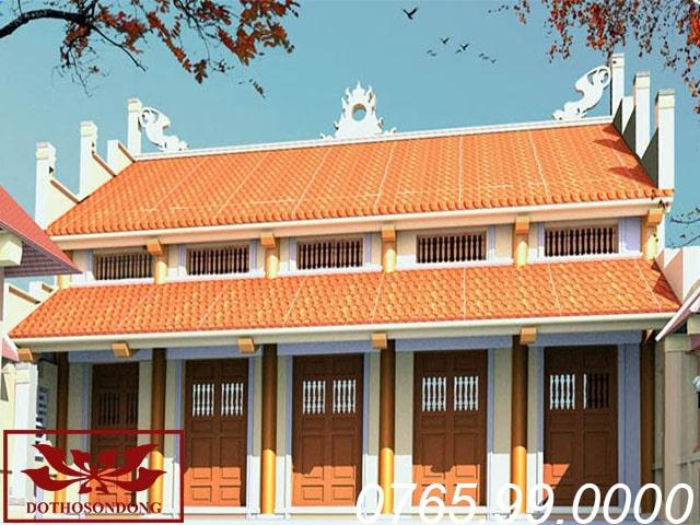 mẫu thiết kế nhà thờ họ 5 gian 2 tầng mái ms11