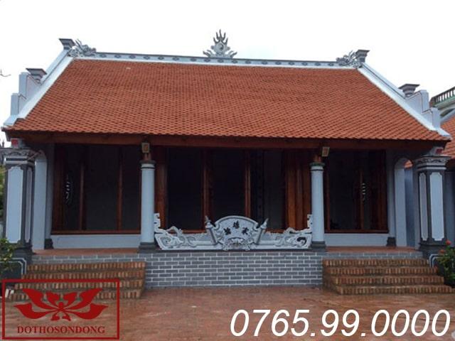 mẫu nhà thờ họ miền bắc xây dựng theo kiến trúc bê tông giả gỗ nhà 3 gian ms02