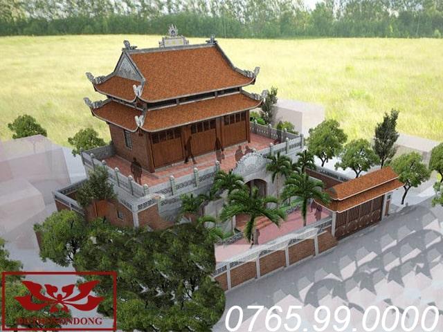 mẫu thiết kế nhà thờ họ 2 tầng 8 mái bề thế linh thiêng ms15