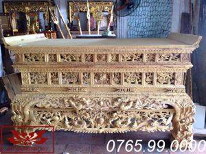 Sập thờ hai dạ chạm tứ linh chất liệu gỗ mít ms31
