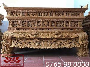 Sập thờ hai dạ chạm tứ linh chất liệu gỗ mít ms32