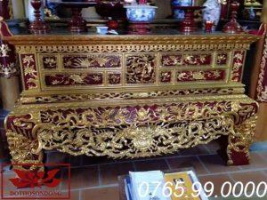Sập thờ hai dạ chạm tứ linh chất liệu gỗ mít sơn son thếp vàng ms33