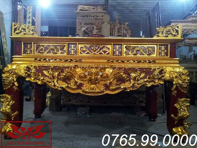 sập thờ tứ linh gỗ mít sơn son thếp vàng ms01