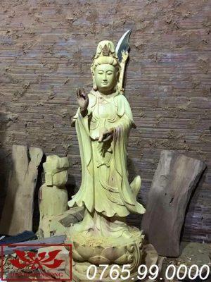 tượng phật bà quan âm thế đứng gỗ mít ms24