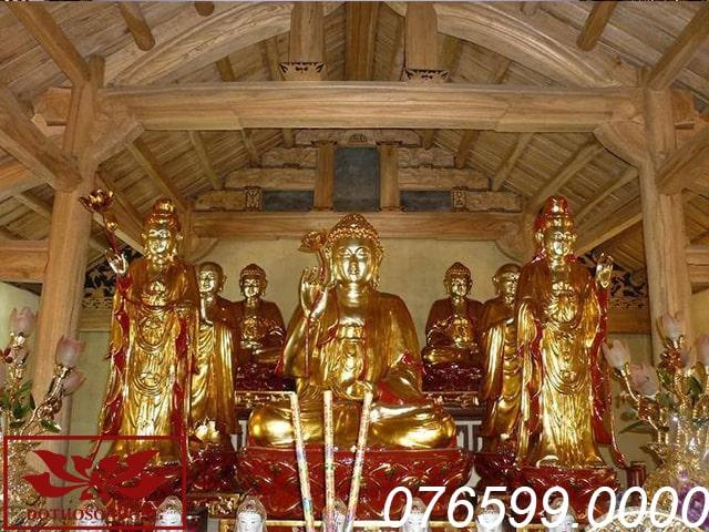hệ thống tượng phật tam bảo tại chùa